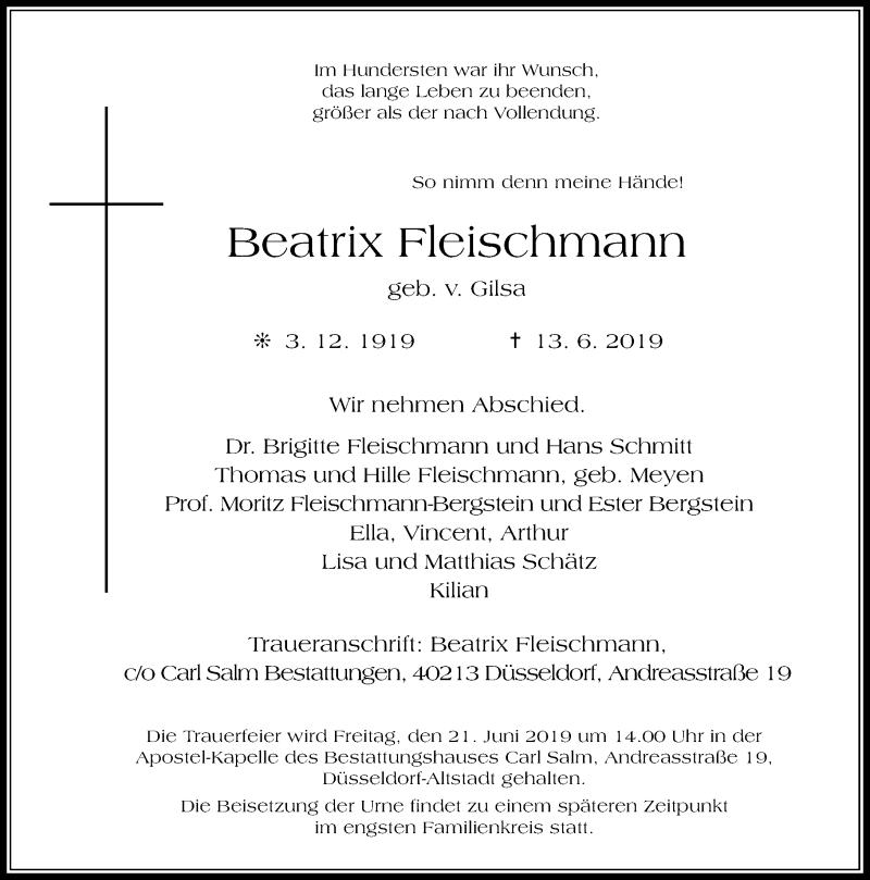 Anzeige von  Beatrix Fleischmann
