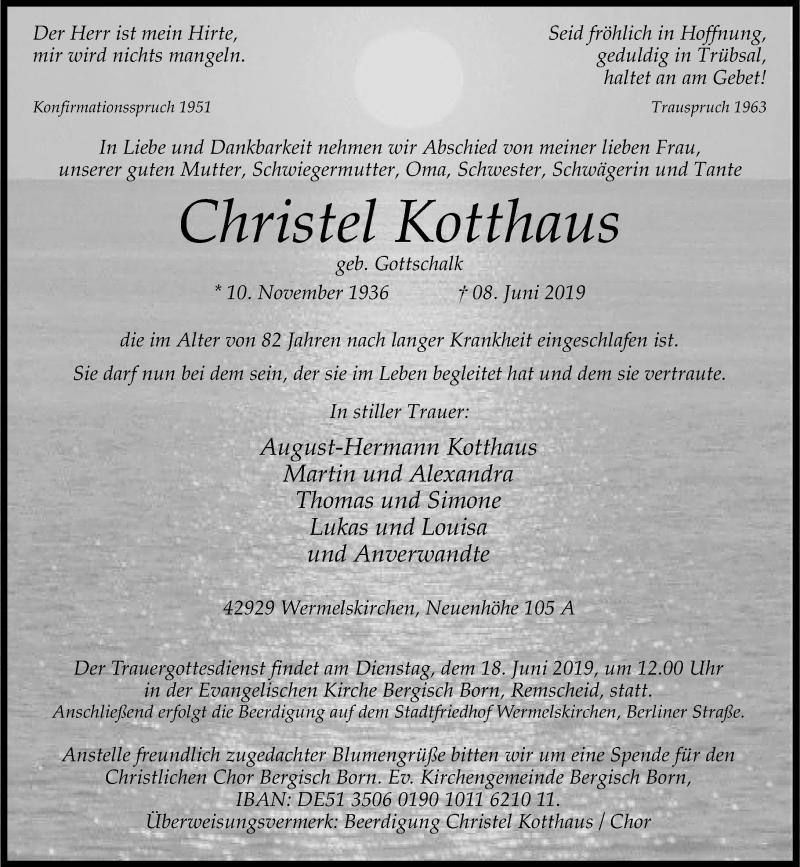 Anzeige von  Christel Kotthaus
