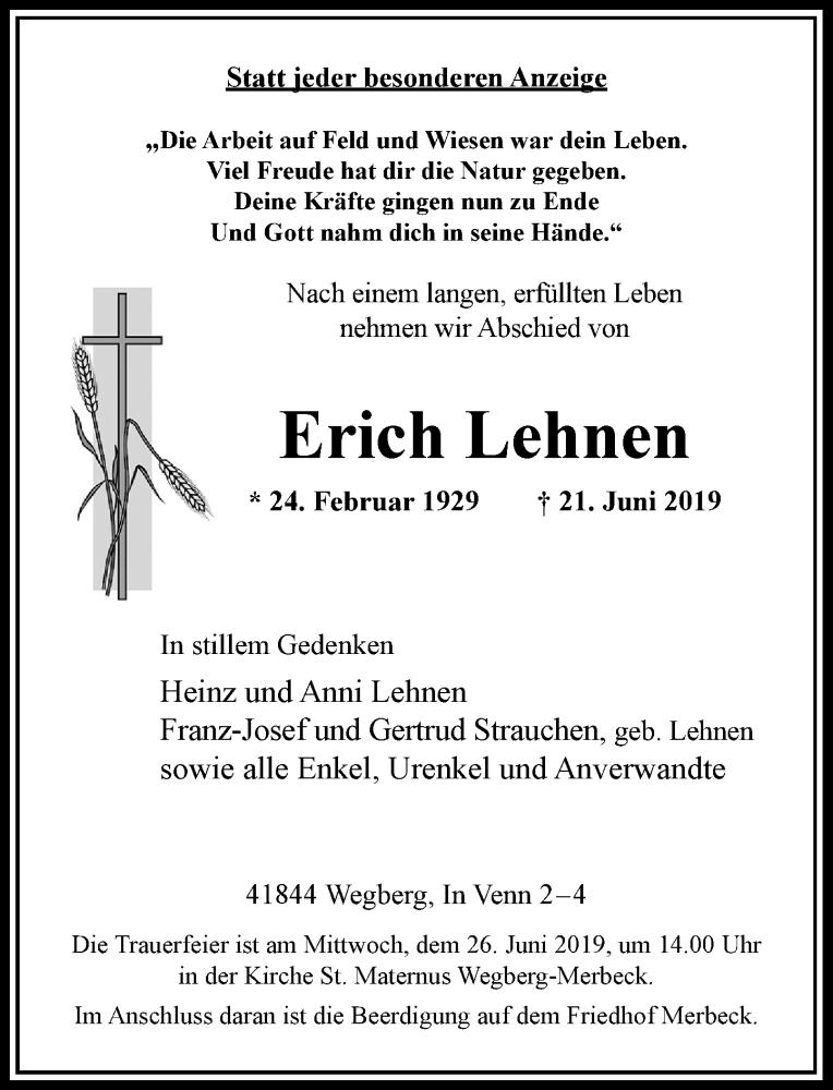 Anzeige von  Erich Lehnen