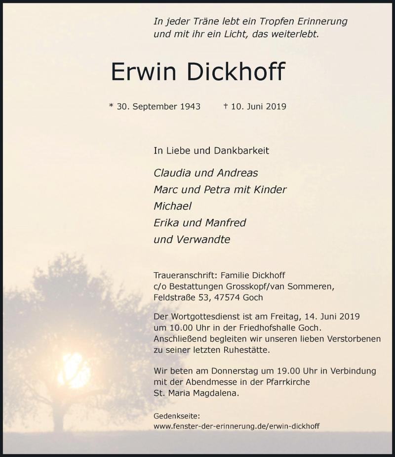 Anzeige von  Erwin Dickhoff