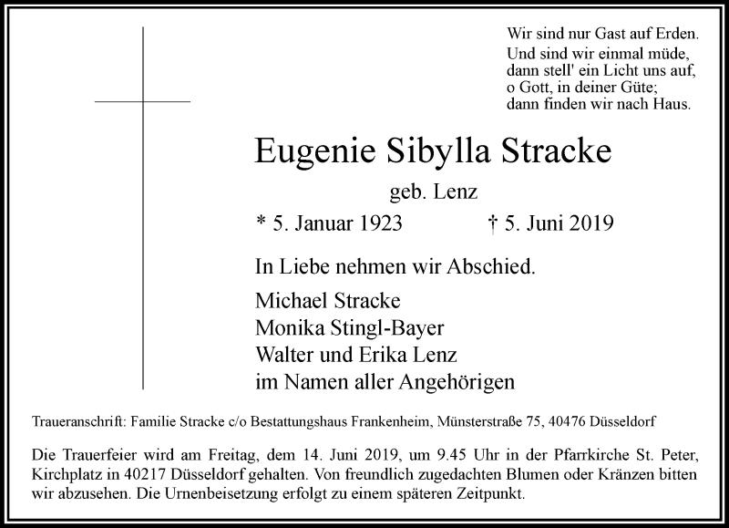 Anzeige von  Eugenie Sibylla Stracke