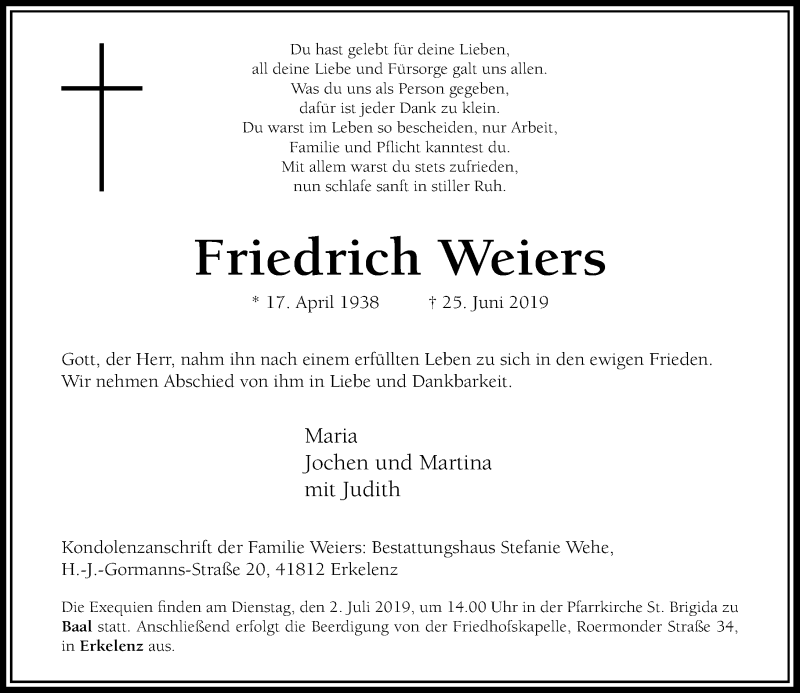 Traueranzeige für Friedrich Weiers vom 29.06.2019 aus Rheinische Post