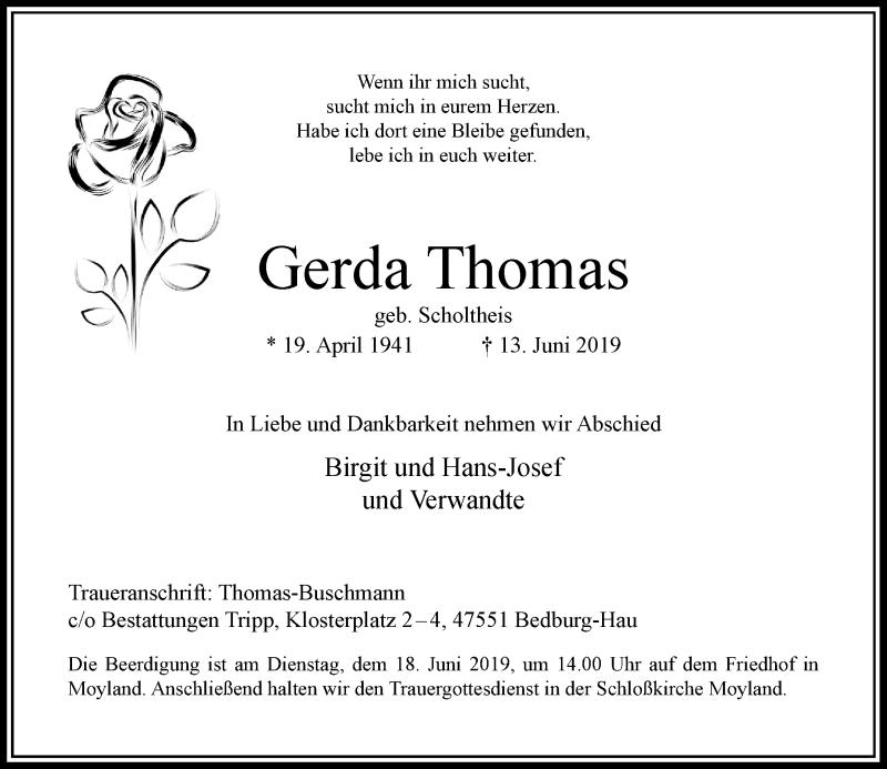 Anzeige von  Gerda Thomas