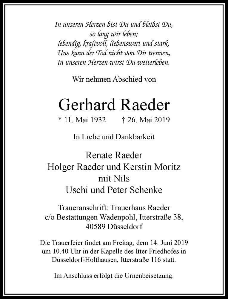 Anzeige von  Gerhard Raeder