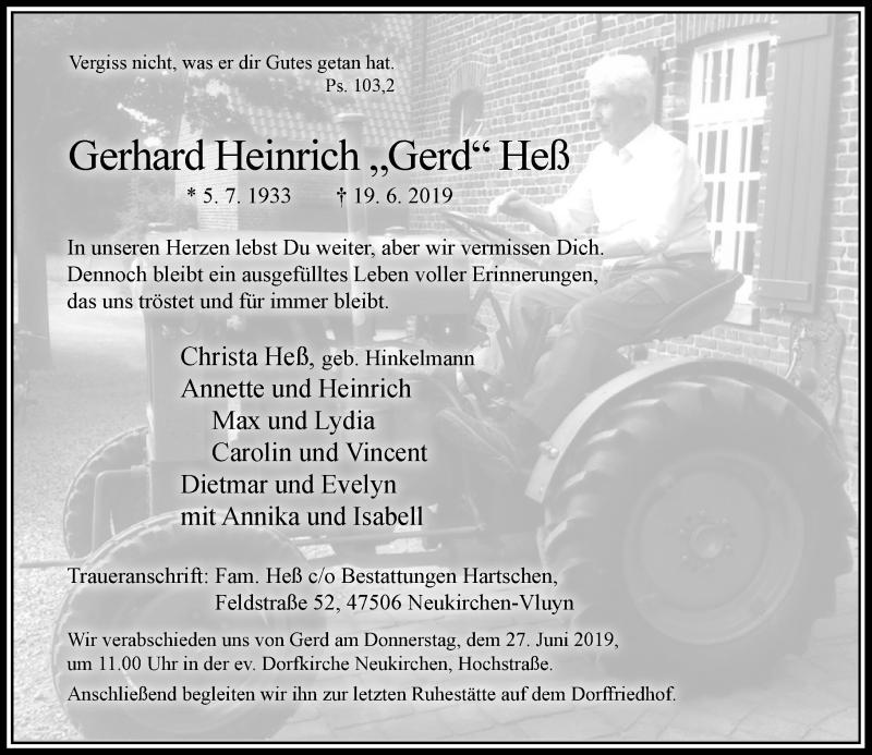 Anzeige von  Gerhard Heinrich Heß