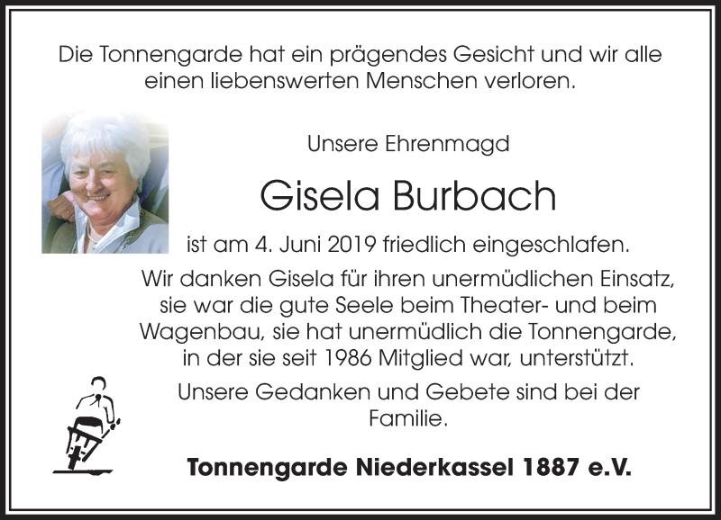 Anzeige von  Gisela Burbach