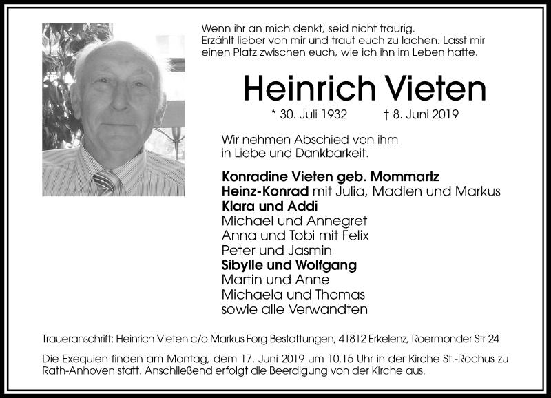 Anzeige von  Heinrich Vieten