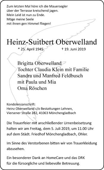 Traueranzeige von Heinz-Suitbert Oberwelland von Rheinische Post
