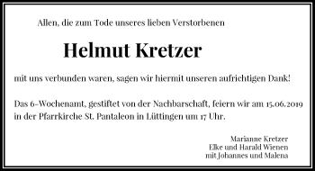 Traueranzeige von Helmut Kretzer von Rheinische Post