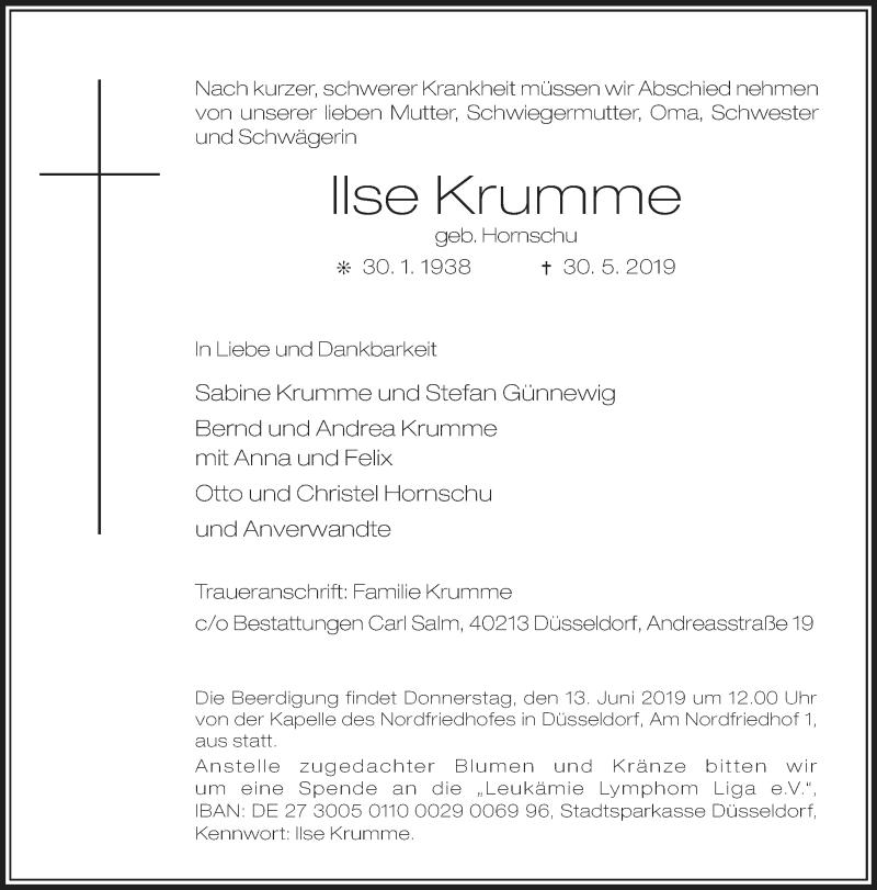 Anzeige von  Ilse Krumme