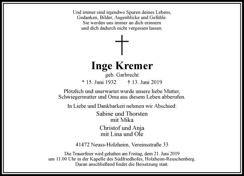 Anzeige von  Inge Kremer