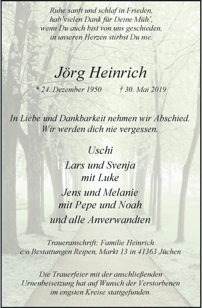 Anzeige von  Jörg Heinrich