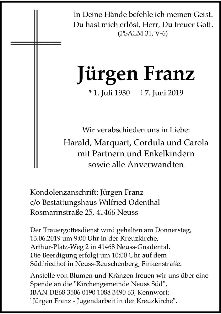 Anzeige von  Jürgen Franz
