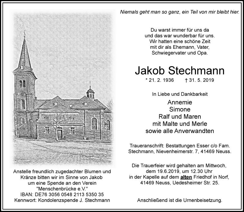 Anzeige von  Jakob Stechmann