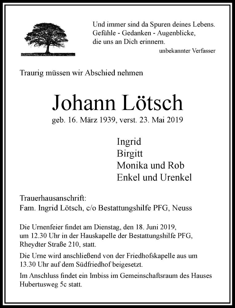 Anzeige von  Johann Lötsch