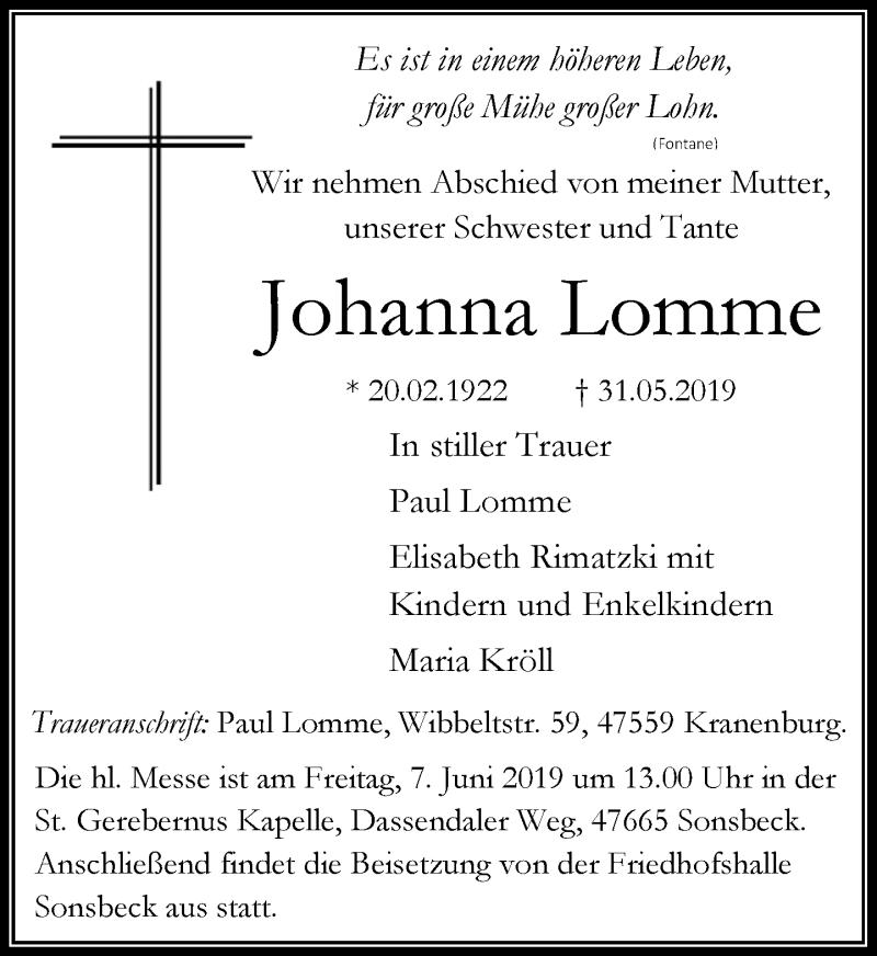 Traueranzeige für Johanna Lomme vom 03.06.2019 aus Rheinische Post