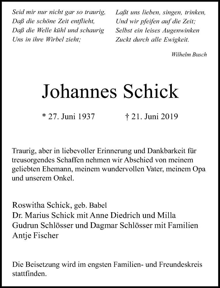 Anzeige von  Johannes Schick