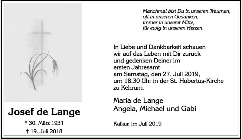 Anzeige von  Josef de Lange