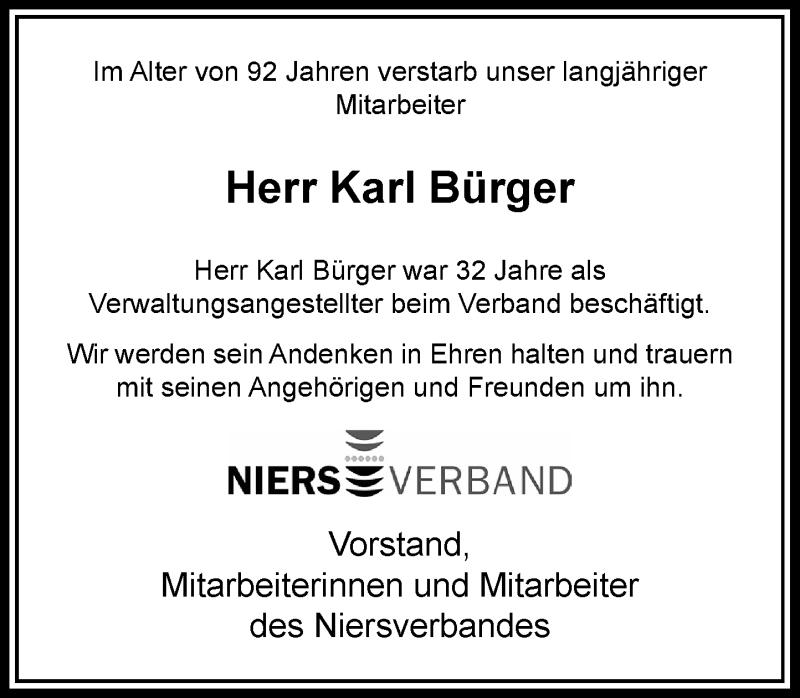 Anzeige von  Karl Bürger