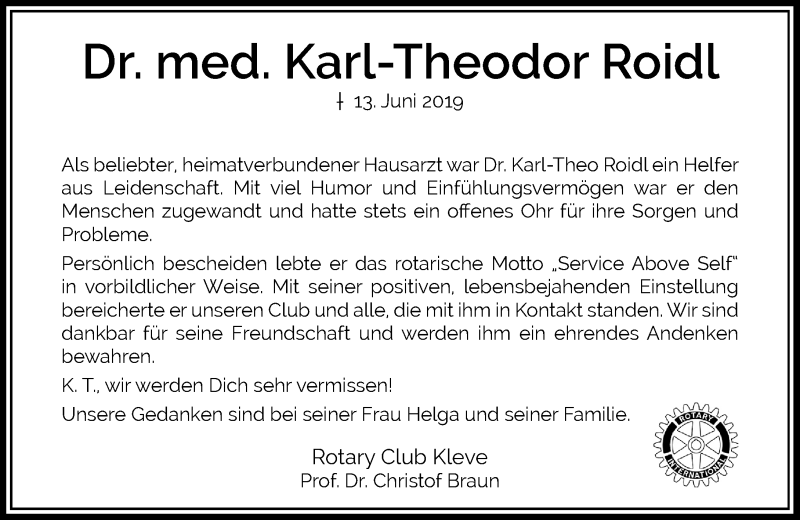 Anzeige von  Karl-Theodor Roidl
