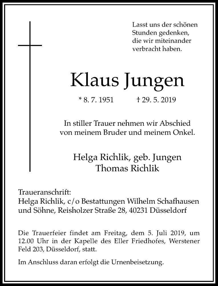Anzeige von  Klaus Jungen