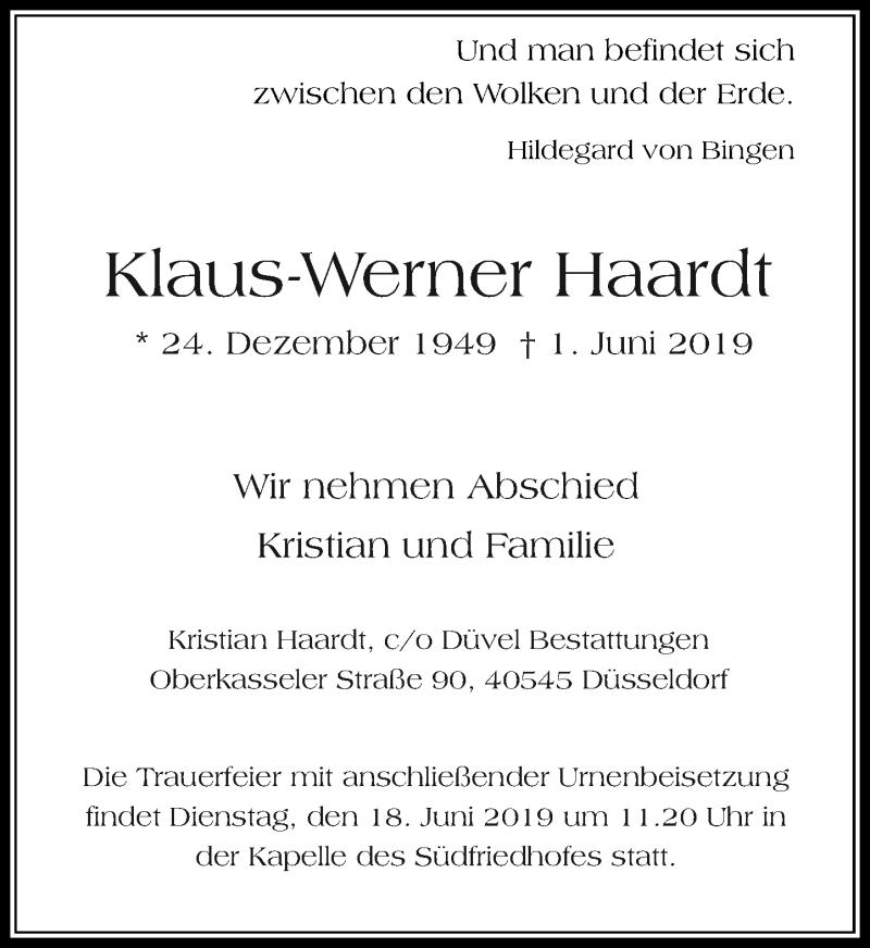 Anzeige von  Klaus-Werner Haardt