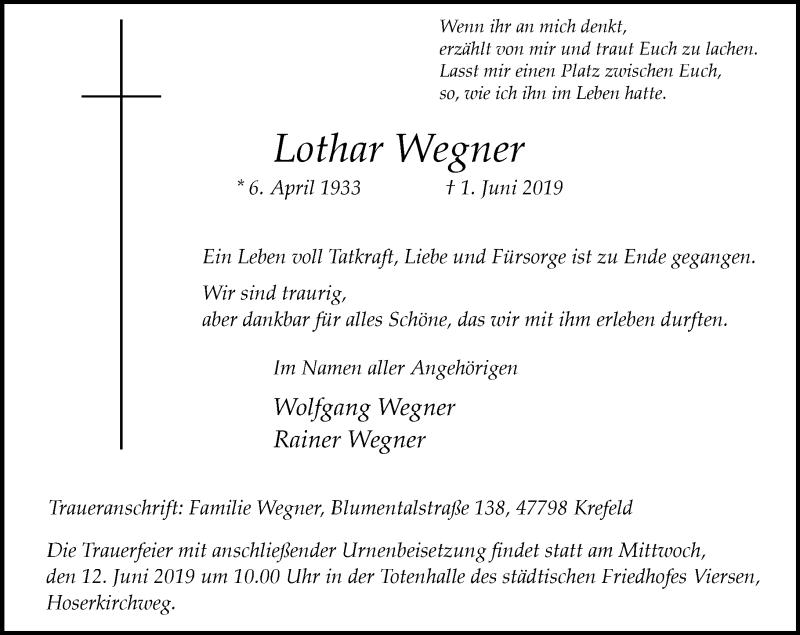 Anzeige von  Lothar Wegner