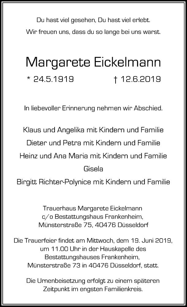 Anzeige von  Margarete Eickelmann