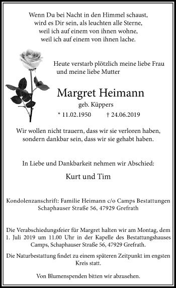 Traueranzeige von Margret Heimann von Rheinische Post