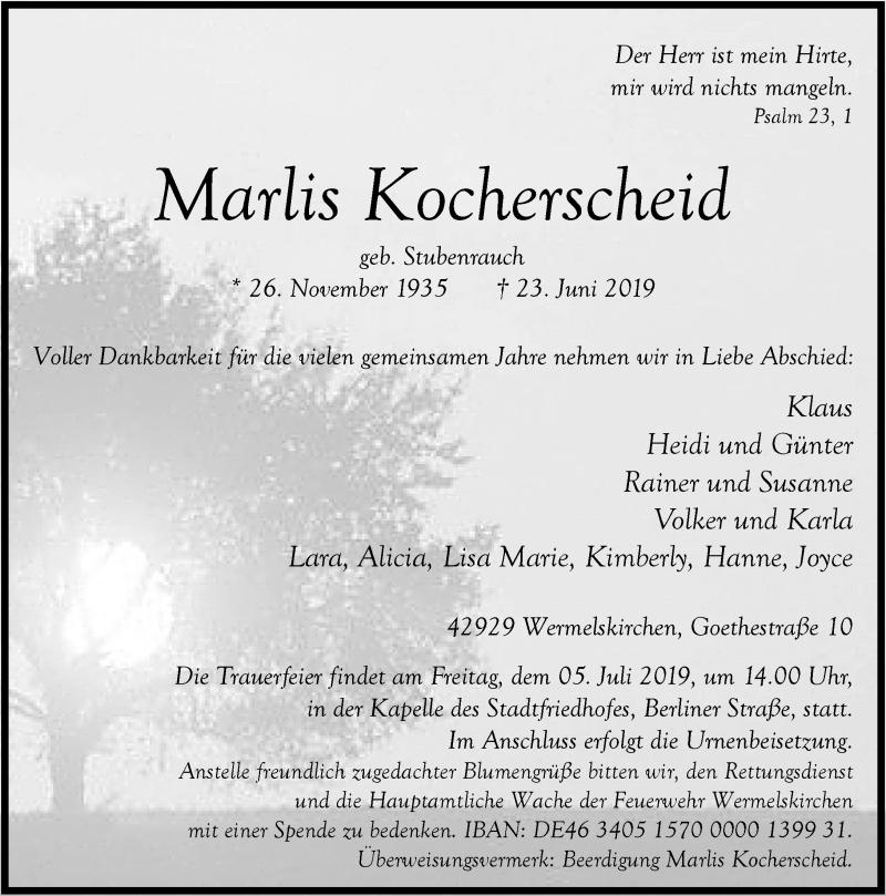 Anzeige von  Marlis Kocherscheid