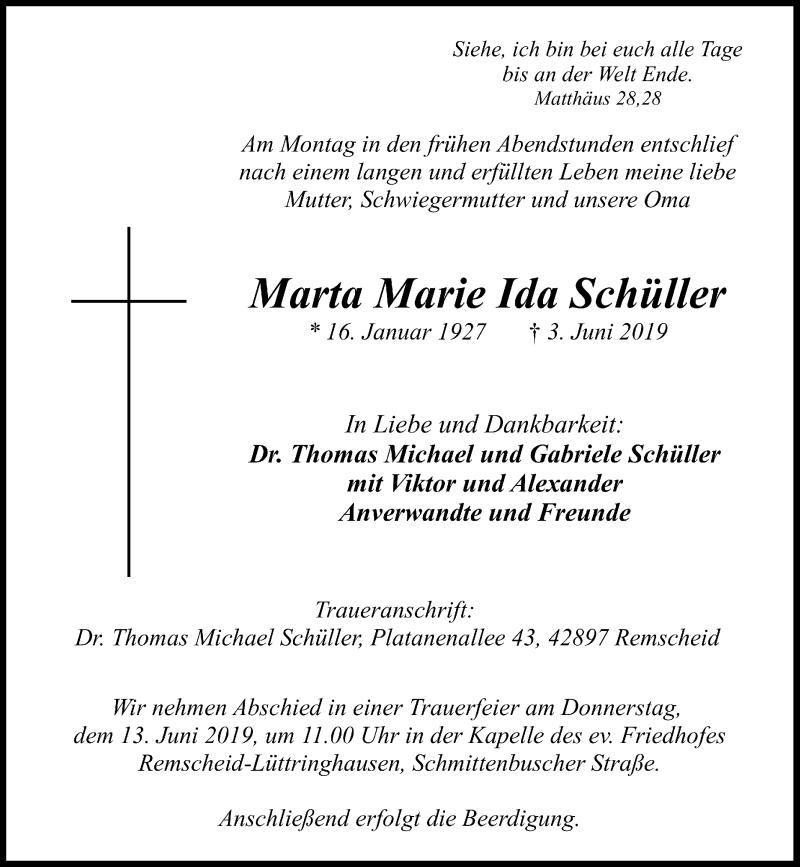 Anzeige von  Marta Marie Ida Schüller