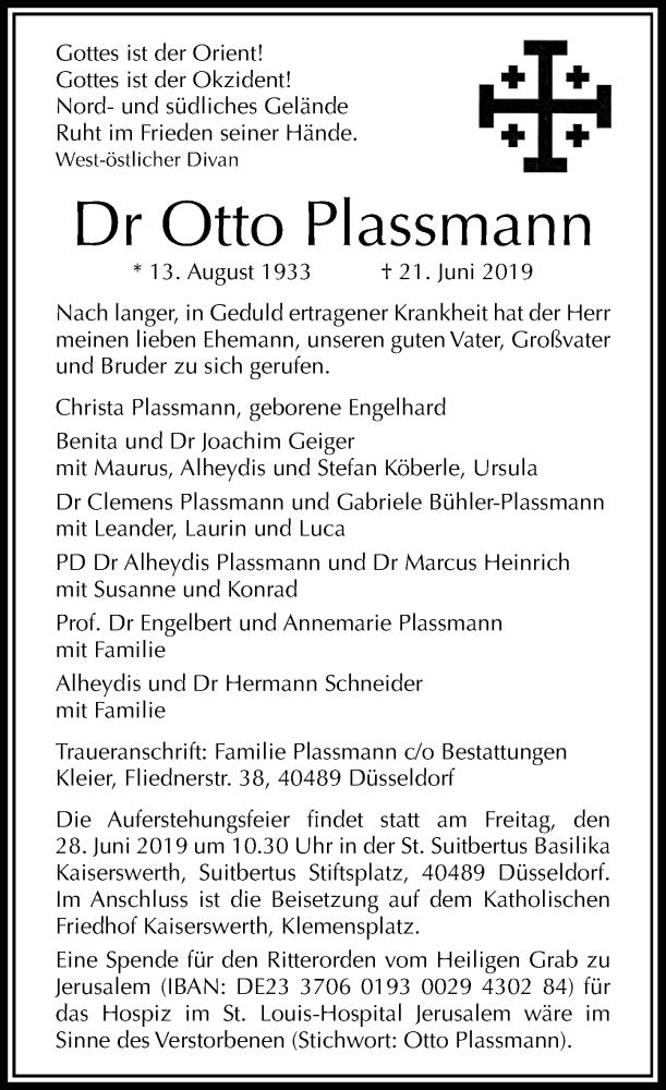 Traueranzeige für Otto Plassmann vom 26.06.2019 aus Rheinische Post