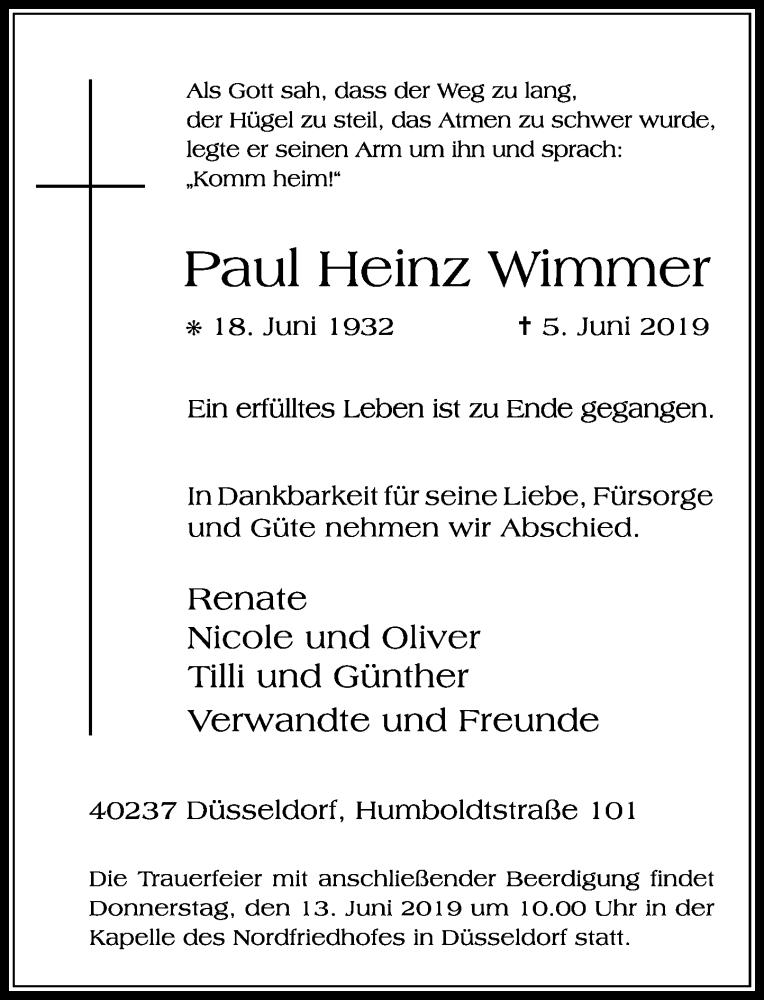 Anzeige von  Paul Heinz Wimmer