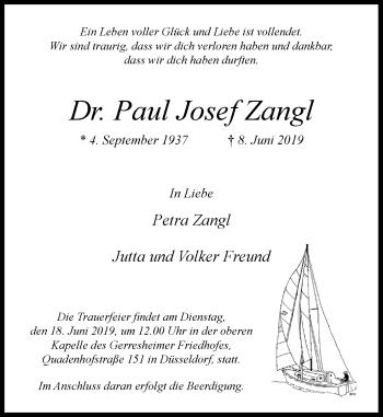 Traueranzeige von Paul Josef Zangl von Rheinische Post