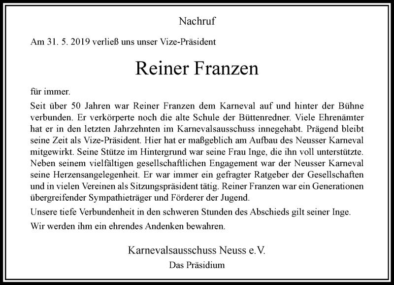 Anzeige von  Reiner Franzen