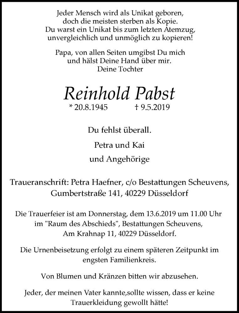 Anzeige von  Reinhold Pabst