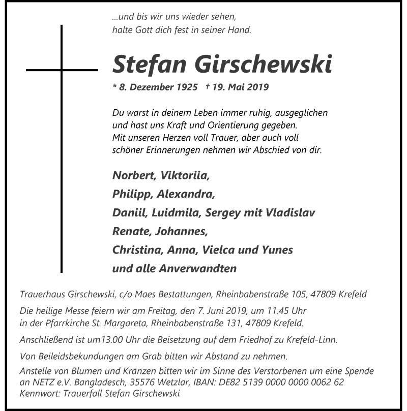 Anzeige von  Stefan Girschewski