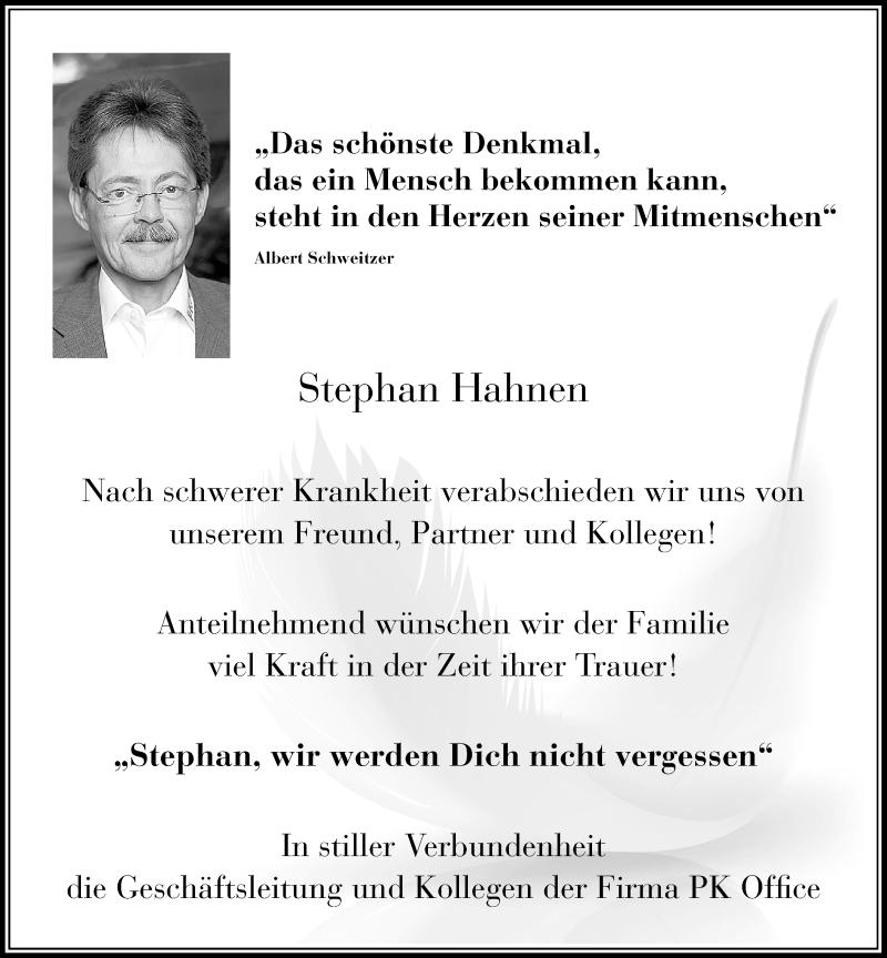 Traueranzeige für Stephan Hahnen vom 18.06.2019 aus Rheinische Post