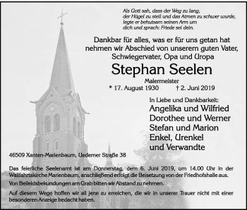 Traueranzeige von Stephan Seelen von Rheinische Post