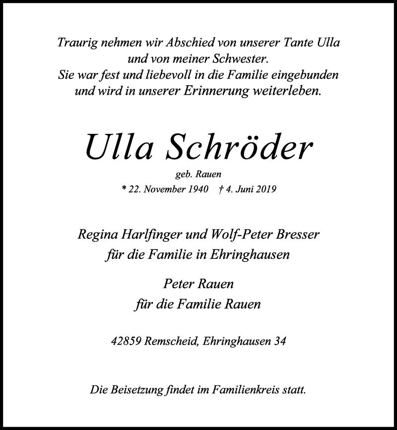 Anzeige von  Ulla Schröder
