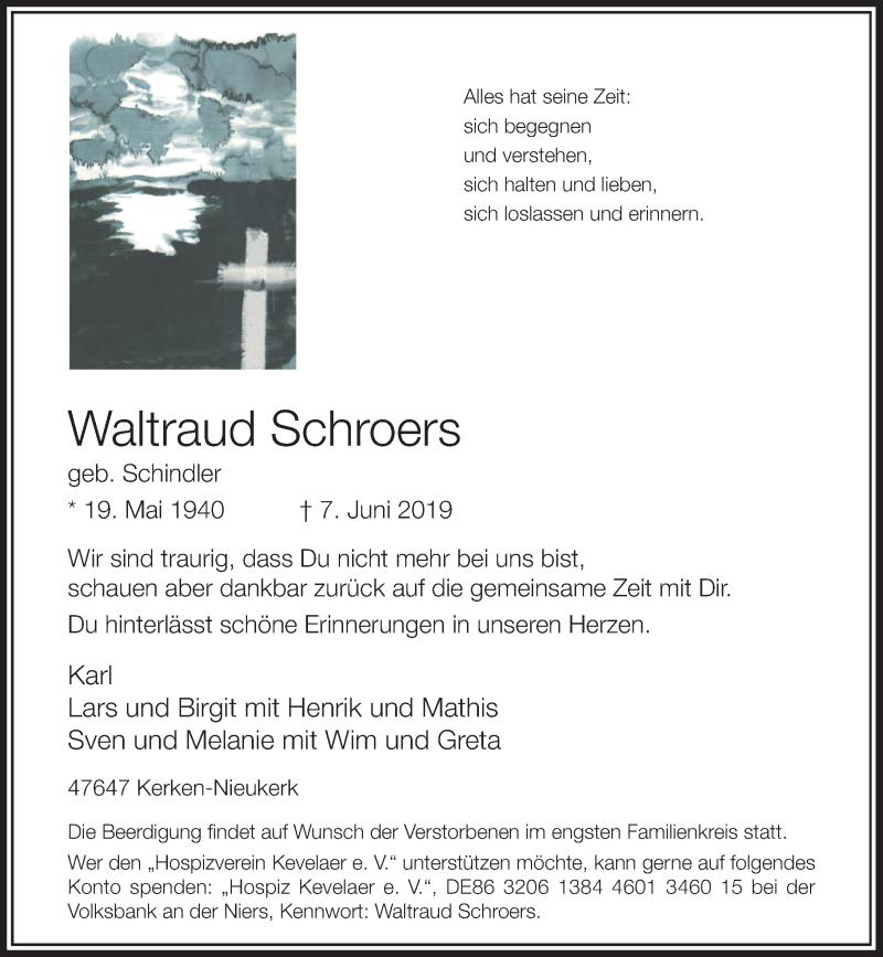 Anzeige von  Waltraud Schroers