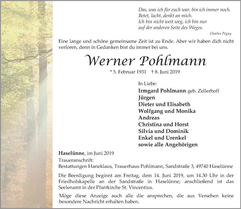Anzeige von  Werner Pohlmann