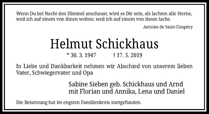 Anzeige von  Helmut Schickhaus