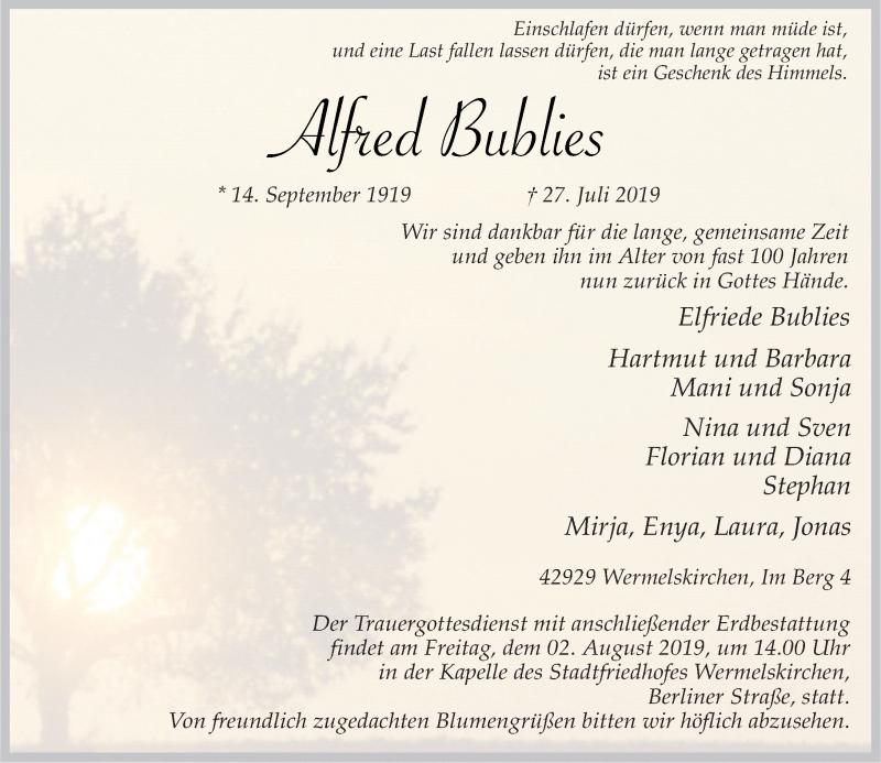 Anzeige von  Alfred Bublies