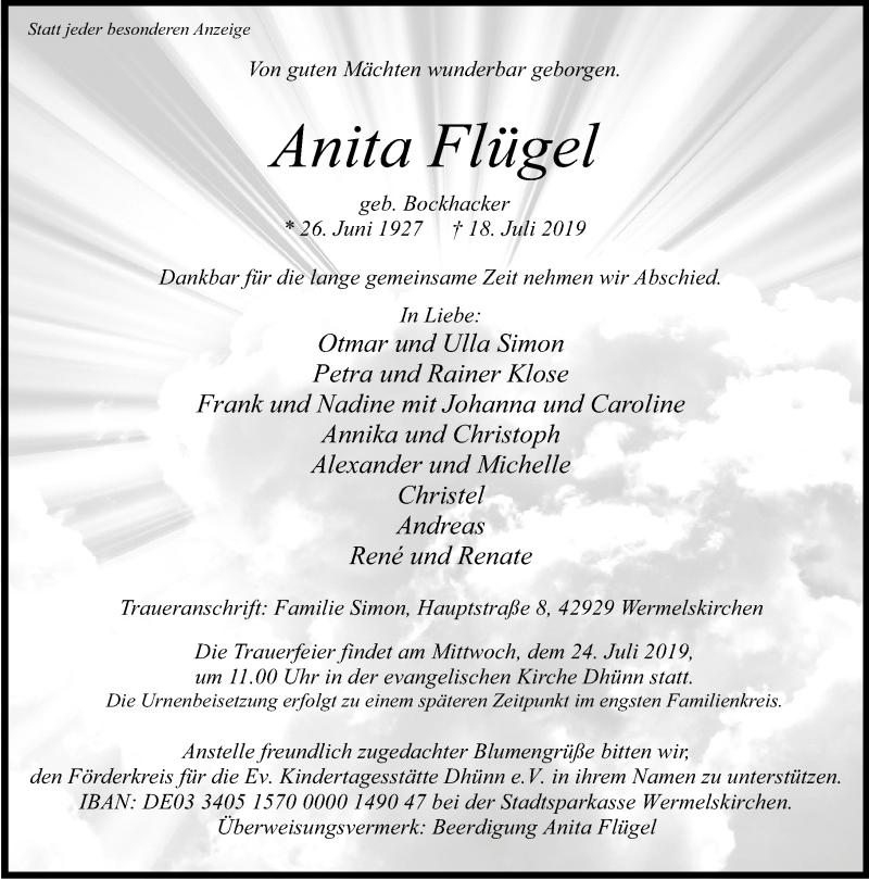 Traueranzeige für Anita Flügel vom 20.07.2019 aus Rheinische Post