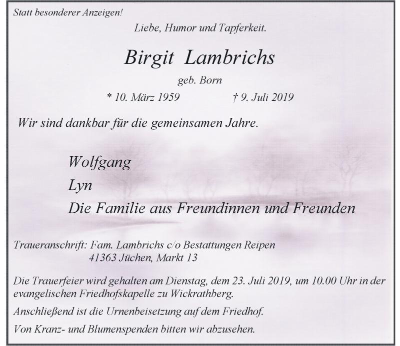 Anzeige von  Birgit Lambrichs