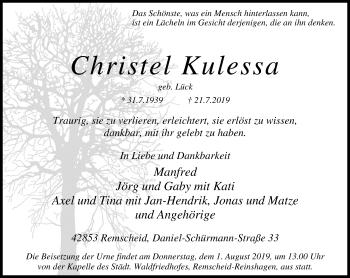 Traueranzeige von Christel Kulessa von Rheinische Post