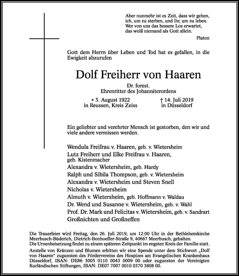 Traueranzeige für Dolf Freiherr von Haaren vom 20.07.2019 aus Rheinische Post