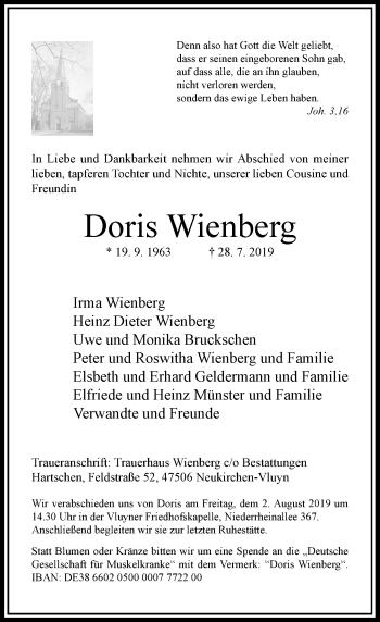 Traueranzeige von Doris Wienberg von Rheinische Post