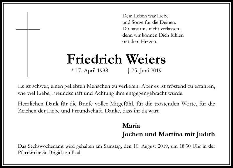 Traueranzeige für Friedrich Weiers vom 03.08.2019 aus Rheinische Post